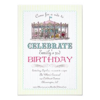 ヴィンテージの回転木馬のパーティの招待状 カード