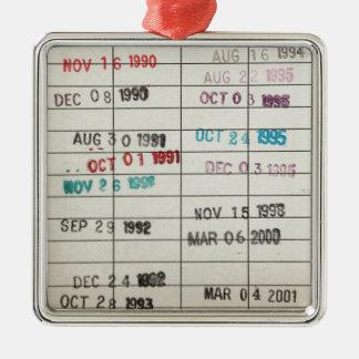ヴィンテージの図書館の支払期日カード シルバーカラー正方形オーナメント