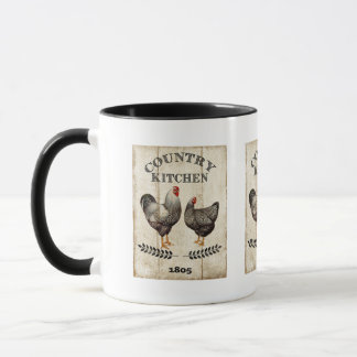 ヴィンテージの国の台所オンドリの鶏のマグ マグカップ