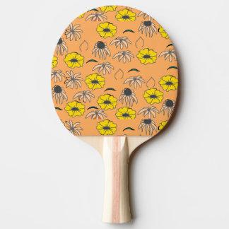 ヴィンテージの国の花の混合物の淡い色のなオレンジ黄色 卓球ラケット