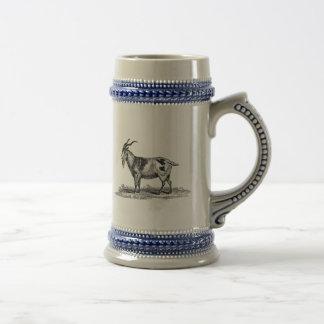 ヴィンテージの国内ヤギのイラストレーション- 1800'sヤギ ビールジョッキ