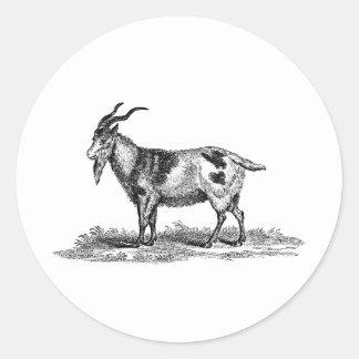 ヴィンテージの国内ヤギのイラストレーション- 1800'sヤギ ラウンドシール