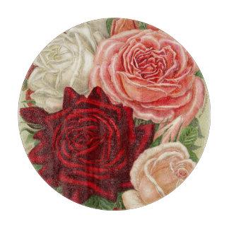 ヴィンテージの園芸バラの円形のガラスまな板 カッティングボード