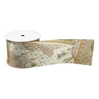 ヴィンテージの地図のプリント サテンリボン