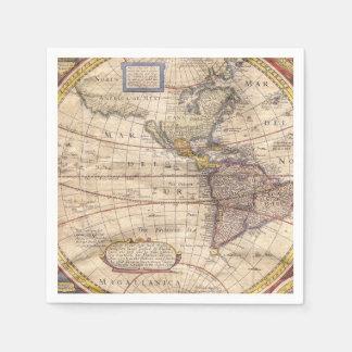ヴィンテージの地図のプリント スタンダードカクテルナプキン