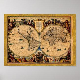 ヴィンテージの地図の新星のtotiusのterrarum 1625年 ポスター