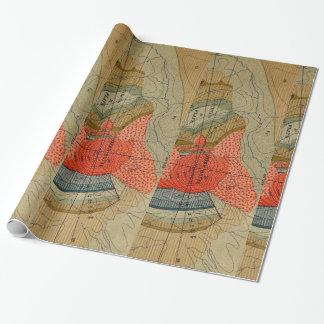 ヴィンテージの地図の詳細/くまのビュート/サーカスの平たい箱 ラッピングペーパー