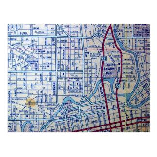 ヴィンテージの地図の郵便はがきのフォートウェイン、 ポストカード