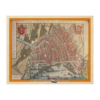 ヴィンテージの地図アムステルダムオランダ ウッドウォールアート