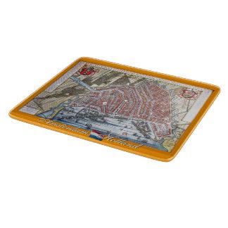 ヴィンテージの地図アムステルダムオランダ カッティングボード