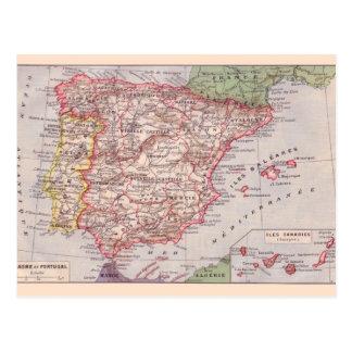 ヴィンテージの地図1920年、スペイン ポストカード