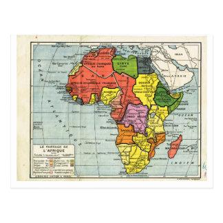 ヴィンテージの地図1920年、フランス語、Laのpartageのd'Afrique ポストカード