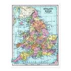 ヴィンテージの地図-イギリス及びウェールズ ポストカード