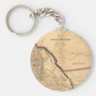ヴィンテージの地図- 1841太平洋NW  オレゴンの領域 キーホルダー