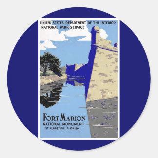 ヴィンテージの城砦のマリオンの国有記念物ポスター 丸形シール・ステッカー