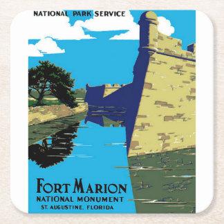 ヴィンテージの城砦のマリオンの国有記念物WPAポスター スクエアペーパーコースター