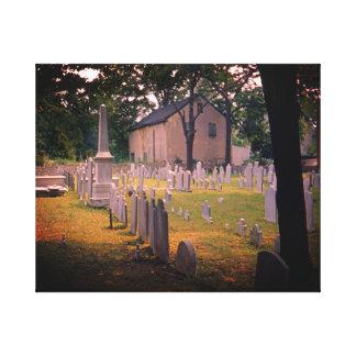 ヴィンテージの墓地の気味悪い墓地の写真の50年代 キャンバスプリント