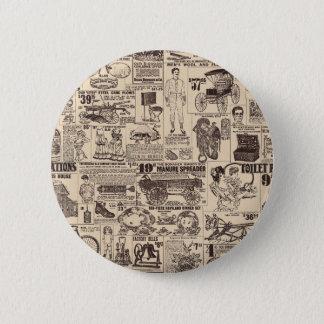 ヴィンテージの壁紙の新聞広告ボタン 5.7CM 丸型バッジ