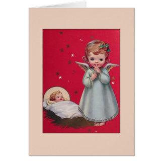 ヴィンテージの天使およびベビーのイエス・キリストのクリスマスカード カード