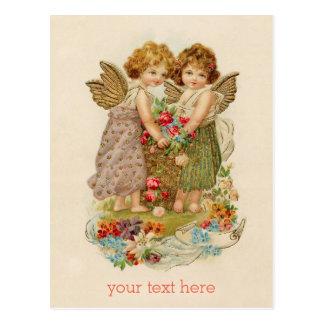 ヴィンテージの天使のバレンタインの郵便はがき + カスタムな文字 ポストカード