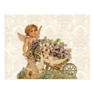 ヴィンテージの天使のバレンタインの郵便はがき ポストカード