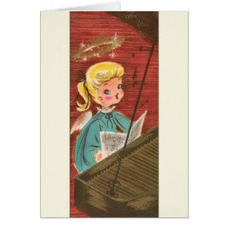 ヴィンテージの天使のピアニストのクリスマスの挨拶状 グリーティングカード