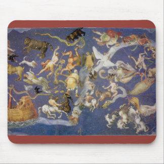 ヴィンテージの天文学の天のフレスコ画、星座 マウスパッド