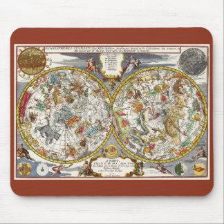 ヴィンテージの天文学、天のPlanisphereの地図 マウスパッド