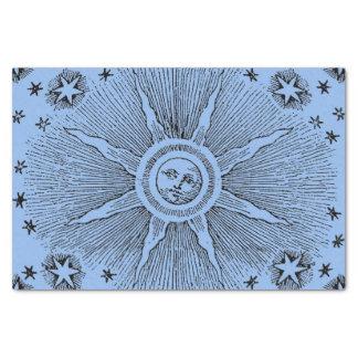 ヴィンテージの太陽および星の天の中世空のdrawi 薄葉紙