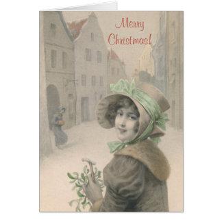 ヴィンテージの女の子およびヤドリギのクリスマス カード