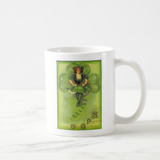 ヴィンテージの女の子のシャムロックのアイルランドセントパトリック日車 コーヒーマグカップ