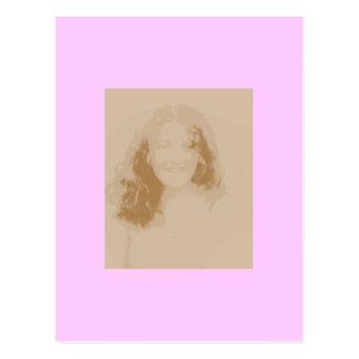 ヴィンテージの女の子のセピア色および最も淡い色のなピンク ポストカード