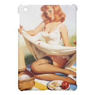 ヴィンテージの女の子の上のいけないピクニックPin iPad Miniカバー