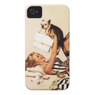 ヴィンテージの女の子の上のいけない初恋Pin Case-Mate iPhone 4 ケース