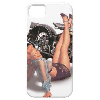 ヴィンテージの女の子の上のいけなくよくはしゃぐなバイクもしくは自転車に乗る人Pin iPhone SE/5/5s ケース