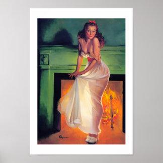 ヴィンテージの女の子の上のレトロのピンナップの芸術のGil Elvgren Pin ポスター
