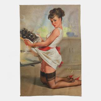 ヴィンテージの女の子の上のレトロのGil Elvgrenのパン屋Pin キッチンタオル
