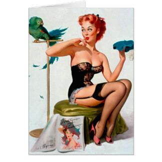 ヴィンテージの女の子の上のレトロのGil Elvgren Pin カード