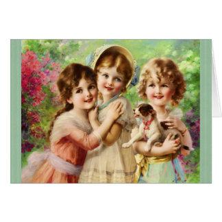 ヴィンテージの女の子の親友の誕生日 カード