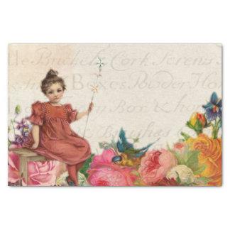ヴィンテージの女の子の鳥の花の原稿の短命なもの 薄葉紙