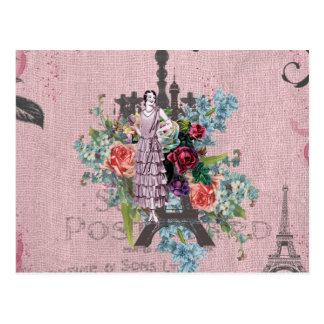ヴィンテージの女の子のCorlofulの赤いバラのパリエッフェル塔 ポストカード