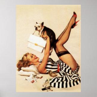 ヴィンテージの女の子ポスターの上のいけない初恋Pin ポスター