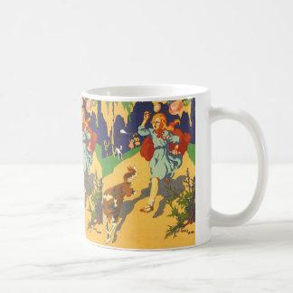 ヴィンテージの女の子赤ずきんの誕生会 コーヒーマグカップ
