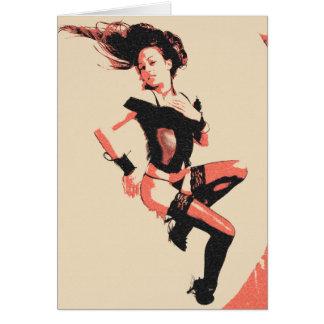 ヴィンテージの女の子、セクシーなランジェリーを提起している魅力の女性 カード