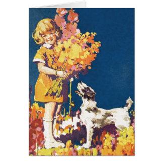 ヴィンテージの女の子 + 犬 カード