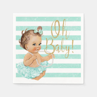 ヴィンテージの女の赤ちゃんのバレリーナの水のグリッター スタンダードカクテルナプキン