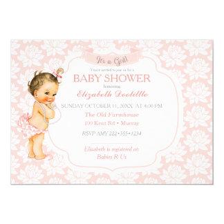 ヴィンテージの女の赤ちゃんのピンクの白及び灰色 カード