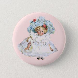 ヴィンテージの女の赤ちゃんの人形、イースター服および帽子 5.7CM 丸型バッジ