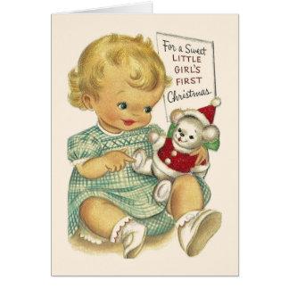 ヴィンテージの女の赤ちゃんの初めてのクリスマスカード グリーティングカード