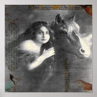 ヴィンテージの女性および馬のデジタルコラージュ ポスター